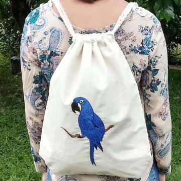 Arara-azul - Mochila Grande de Pano - Pássaros Caparaó