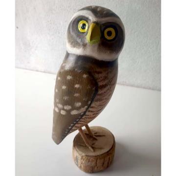 Coruja-buraqueira 2 - Miniatura madeira Valdeir José