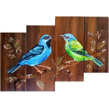 Saí-azul casal - arte em madeira Bio & Mãe Terra