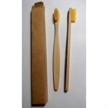 Escova dental biodegradável haste de bambu - AMARELO