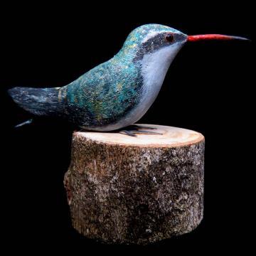 Besourinho-de-bico-vermelho - Miniatura em madeira Valdeir José