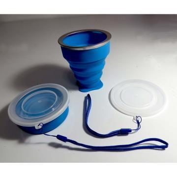 Copo de silicone retrátil - aro metálico - 200ml - AZUL