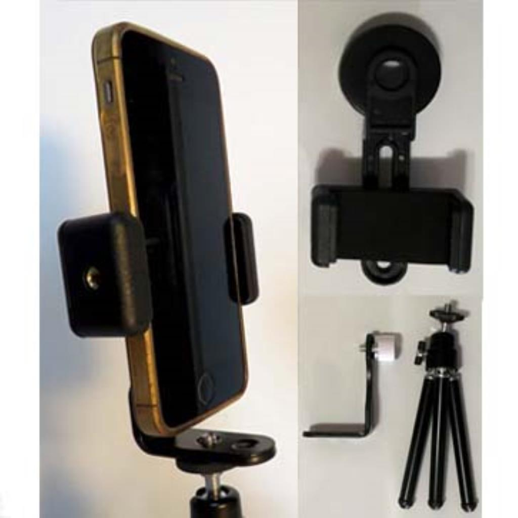 Kit para digiscoping 3: adaptador para celular e mini-tripé de mesa