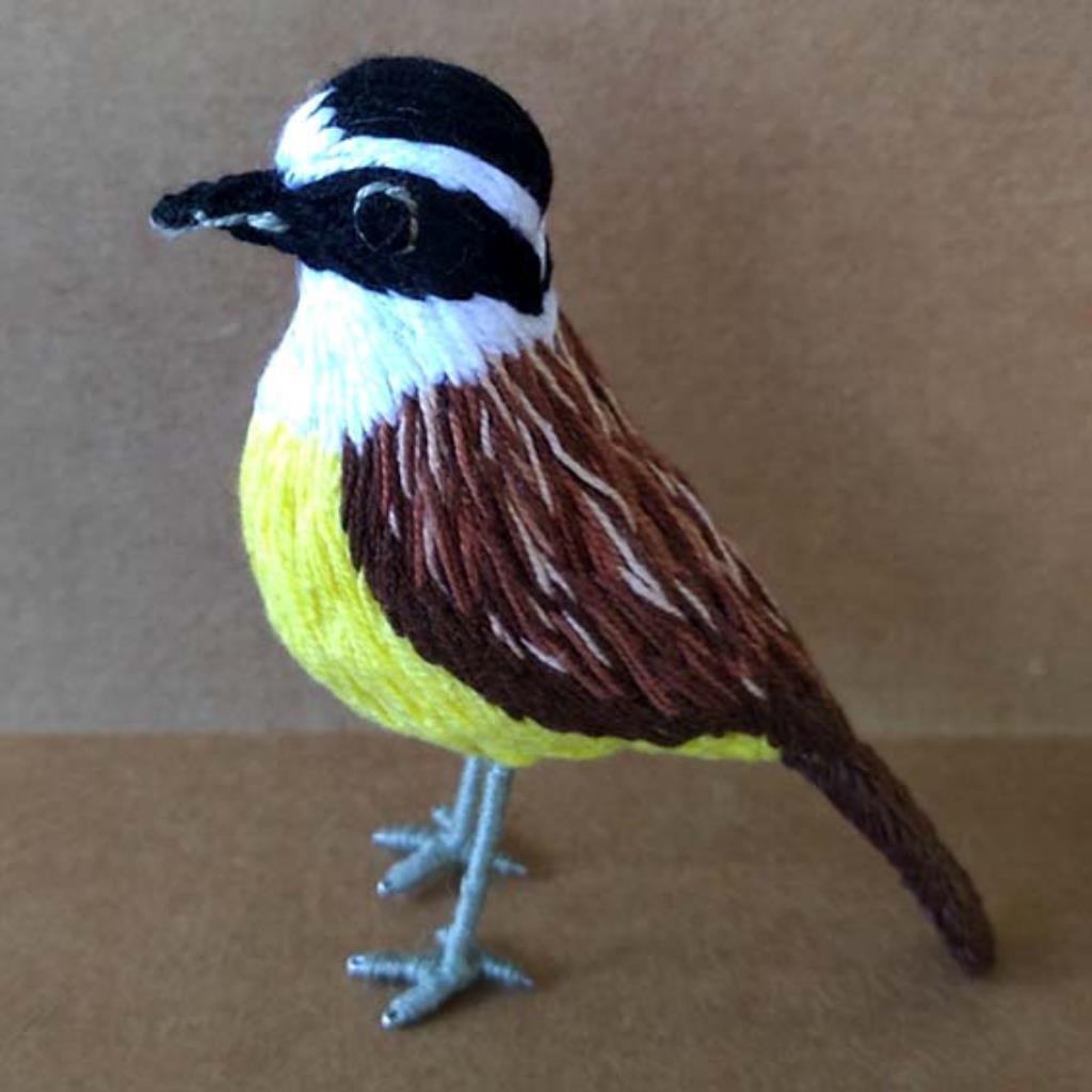 Bem-te-vi - miniatura Pássaros Caparaó bordado