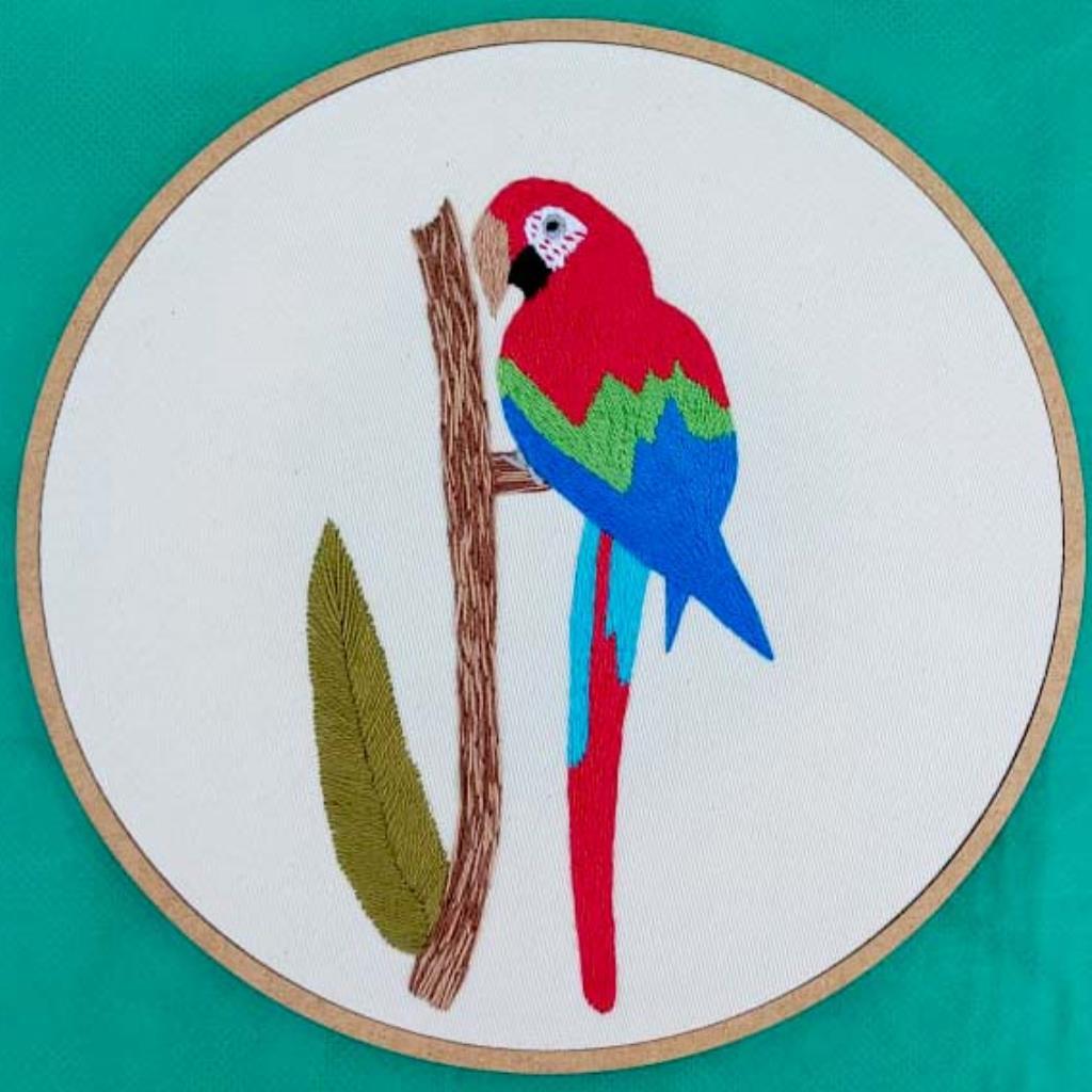 Arara-vemelha G - Bordado a Mão em Bastidor - Pássaros Caparaó