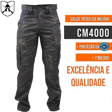 Calça Tática Cia Militar 7 Bolsos - Multicam Black