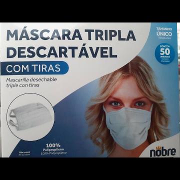 Mascara descartavel tripla com tiras - caixa com 50 unidades