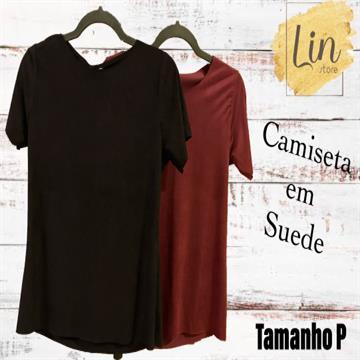 CAMISETA EM SUEDE COM MANGA - TAMANHO P - CORES VARIADAS
