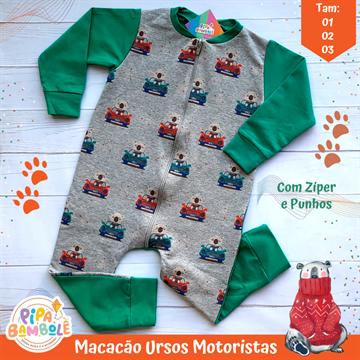 MACACÃO MOLETINHO MASC URSOS MOTORISTAS C/ZÍPER - 1/2/3