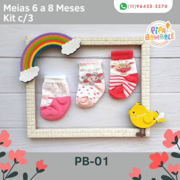 MEIA FEM SORTIDAS 6-8 MESES KIT C/3