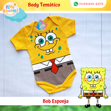 BODY TEMÁTICO MASC BOB ESPONJA P/M/G