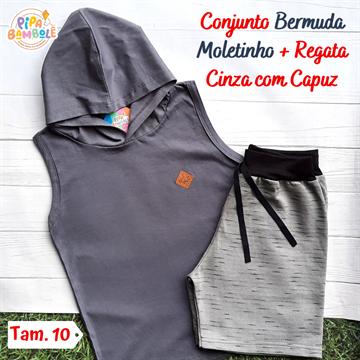CONJUNTO REGATA C/ CAPUZ + BERMUDA MOLETINHO - 8/10/12