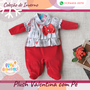 MACACÃO PLUSH FEM VALENTINA C/PÉ