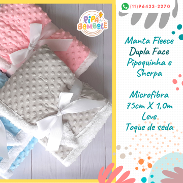 MANTA FLEECE DUPLA FACE PIPOQUINHA C/ SHERPA
