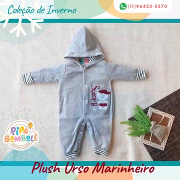 MACACÃO PLUSH MASC URSO MARINHEIRO S/PÉ E C/TOUCA