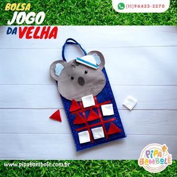BOLSA MASC JOGO DA VELHA COALA C/10 PEÇAS