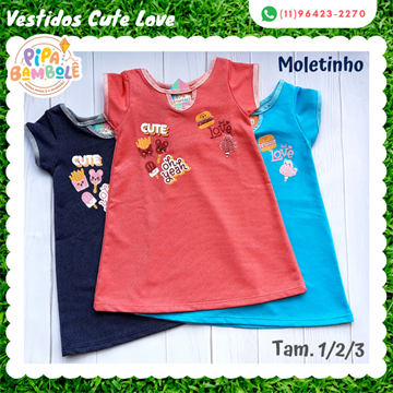 VESTIDO MOLETINHO JEANS CUTE LOVE - 1/2/3