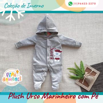 MACACÃO PLUSH MASC URSO MARINHEIRO C/PÉ E TOUCA