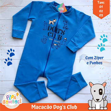 MACACÃO MOLETINHO MASC DOG'S CLUB C/ZÍPER - 1/2/3