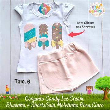 CONJUNTO BLUSINHA + SAIA CANDY ICE CREAM - 4/6/8