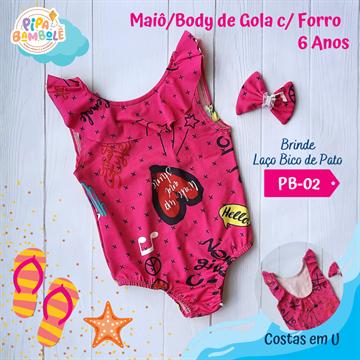 BODY MAIÔ DE GOLA ESTAMPADO TAM 6