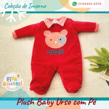 MACACÃO PLUSH MASC BABY URSO C/PÉ